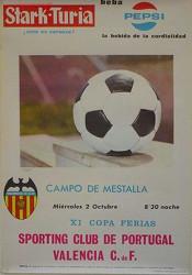 Cartel del Valencia CF - Sporting de Lisboa disputado en Mestalla