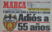 Portada del diario deportivo Marca tras el descenso del Valencia CF